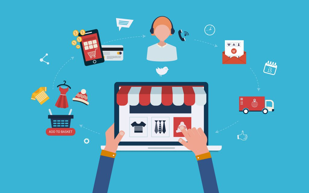 Mobile marketing and online store concept flat icons. Full circle of online-shopping with mail menu of wide range products, product research, basket, pay per click, call center, delivery.